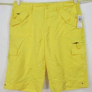 Caribbean Joe Shorts Sz 10 Yellow Cargo
